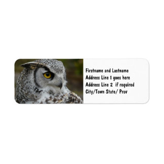 Great Horned Owl Photograph Return Address Label