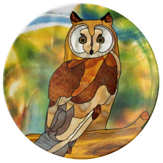 Great Horned Owl Porcelain Plate