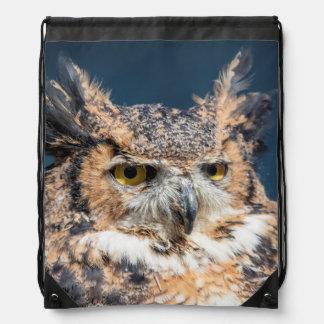 Great Horned Owl Portrait Drawstring Bag