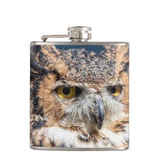 Great Horned Owl Portrait Hip Flask