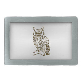 Great Horned Owl Rectangular Belt Buckle