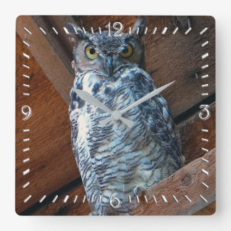 Great Horned Owl Square Clock