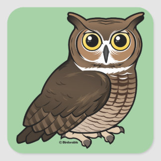 Great Horned Owl Square Sticker