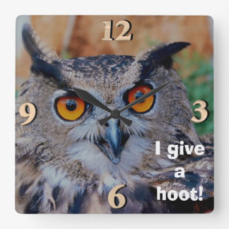 Great Horned Owl Square Wall Clock