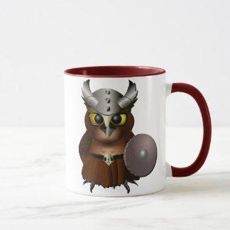 """""""Great Horned Owl"""" Viking Helmet Owl Mug"""