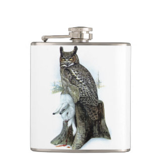Great Horned Owl with snow hare rabbit Painting Flasks