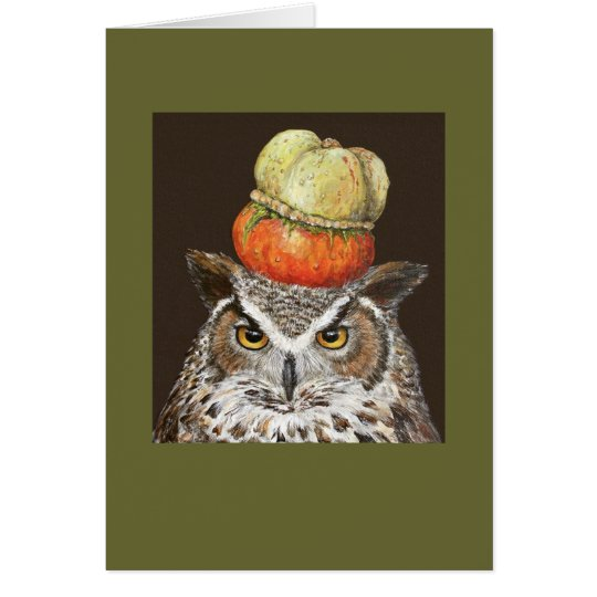 great horned owl with turban squash card