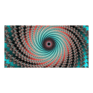 Great Hypnotic Swirl - black, bordeaux, turquoise Photo Greeting Card