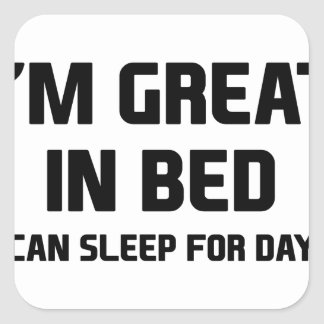 Great in Bed Square Sticker