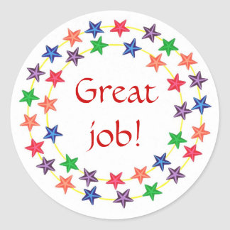 Great job!, stickers, circles of colorful stars classic round sticker