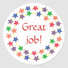 Great job!, stickers, circles of colourful stars classic round sticker