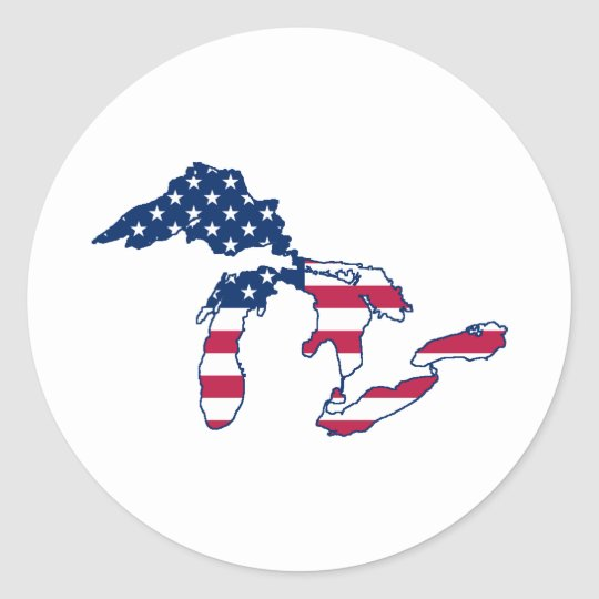 Great Lakes American Flag Classic Round Sticker
