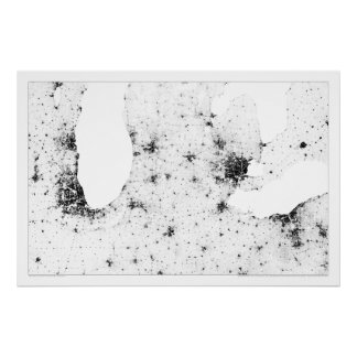 Great Lakes Cities Census Dotmap Poster