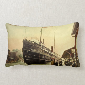 Great Lakes Excursion Ship at Manistee Michigan Lumbar Pillow