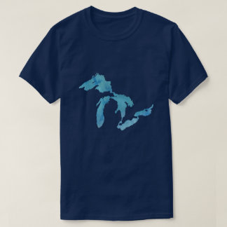 Great Lakes map outline silhouette T-Shirt
