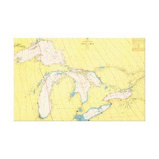 Great Lakes Nautical chart and map Canvas Print