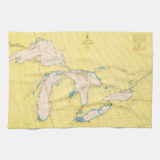 Great Lakes Nautical chart map Kitchen Towel