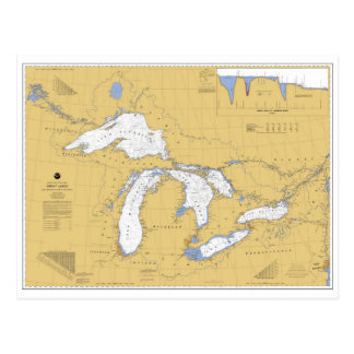 Great Lakes Nautical Chart Postcard