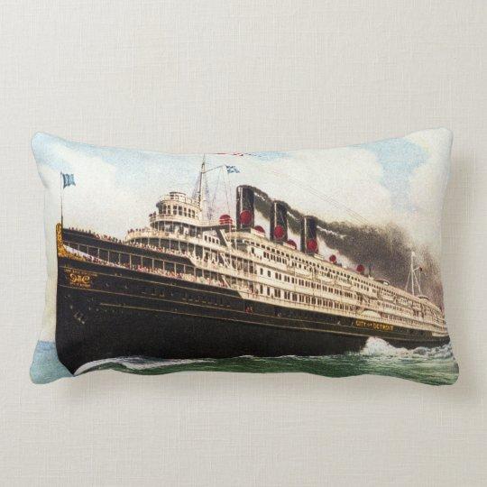 Great Lakes Passenger Steamer City of Detroit III Lumbar Pillow