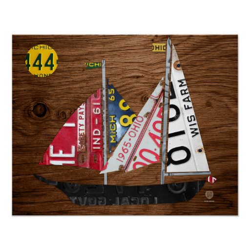 Great Lakes State Sailboat Recycled License Plate Poster