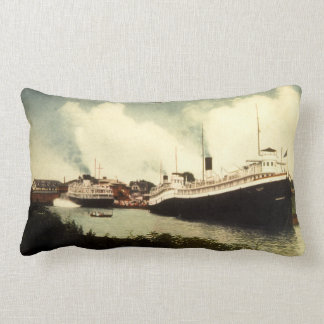 Great Lakes Steamer Fleet at South Haven Michigan Lumbar Pillow