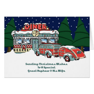 Great Nephew & His Wife Retro Diner Christmas Card
