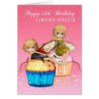 Great Niece 14th Birthday With Cute Fairies Cakes Card