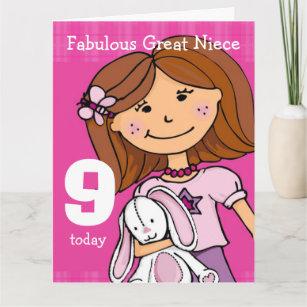 Great Niece Girls 9th Birthday Card Pink