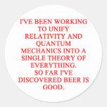 great phisics joke round sticker