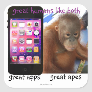 Great Phone Apps Great Ape Humor Square Sticker