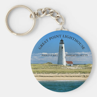 Great Point Lighthouse Nantucket MA Keychain