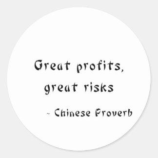 Great Profits, Great Risks Round Sticker