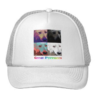Great Pyrenees colorful quad design on white Trucker Hat