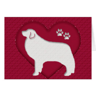 Great Pyrenees Glitter Heart Card