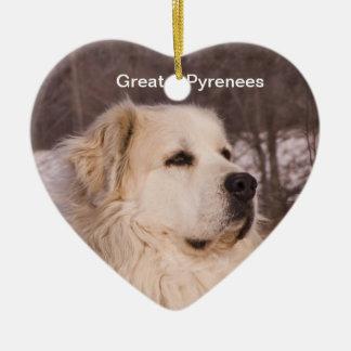 Great Pyrenees Heart Ceramic Ornament