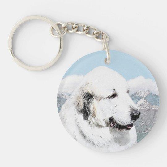 Great Pyrenees Painting - Original Dog Art Keychain