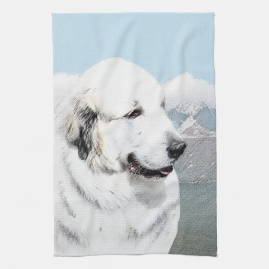 Great Pyrenees Painting - Original Dog Art Kitchen Towel