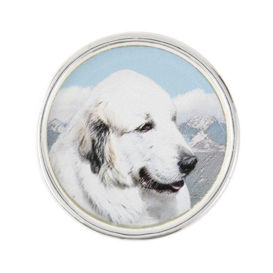 Great Pyrenees Painting - Original Dog Art Lapel Pin