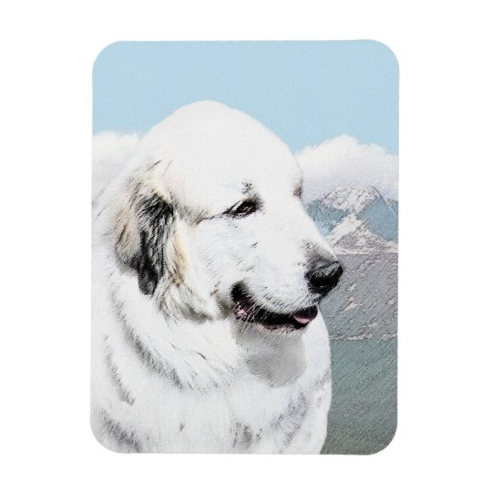Great Pyrenees Painting - Original Dog Art Magnet