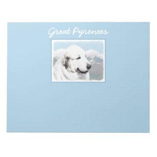 Great Pyrenees Painting - Original Dog Art Notepad