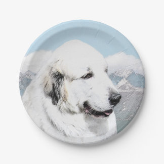 Great Pyrenees Painting - Original Dog Art Paper Plate