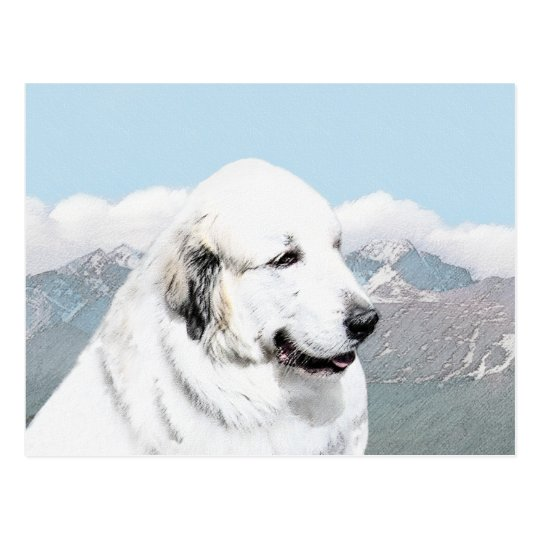 Great Pyrenees Painting - Original Dog Art Postcard