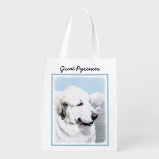 Great Pyrenees Painting - Original Dog Art Reusable Grocery Bag