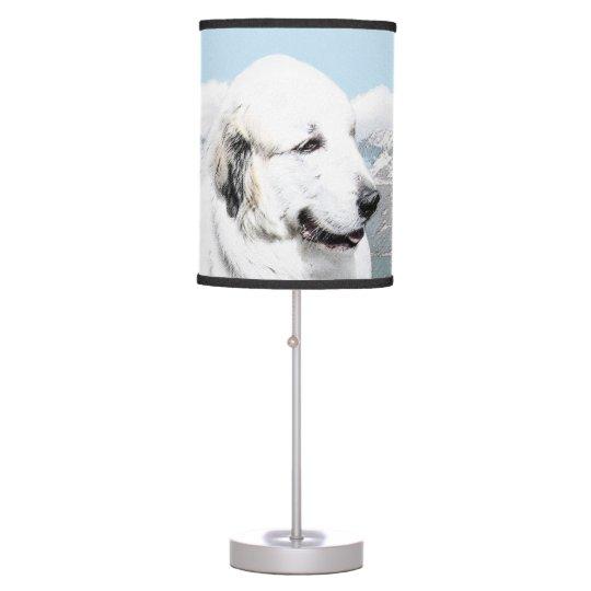 Great Pyrenees Painting - Original Dog Art Table Lamp