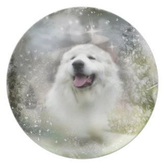 "Great Pyrenees Plate - ""Beautiful Benny"" Winter"