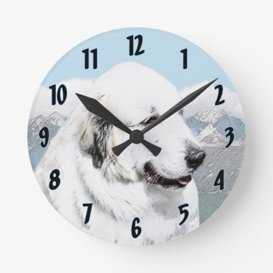 Great Pyrenees Round Clock