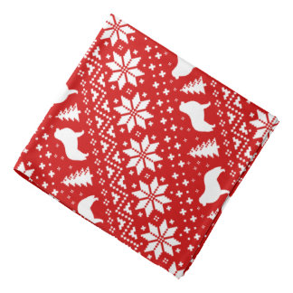 Great Pyrenees Silhouettes Christmas Pattern Red Bandana