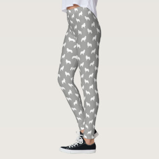 Great Pyrenees Silhouettes Pattern Grey and White Leggings