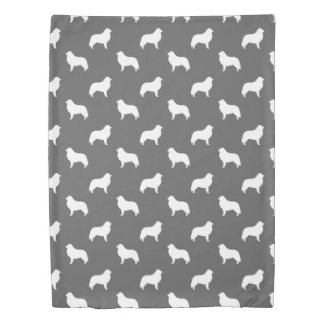 Great Pyrenees Silhouettes Pattern Grey Duvet Cover
