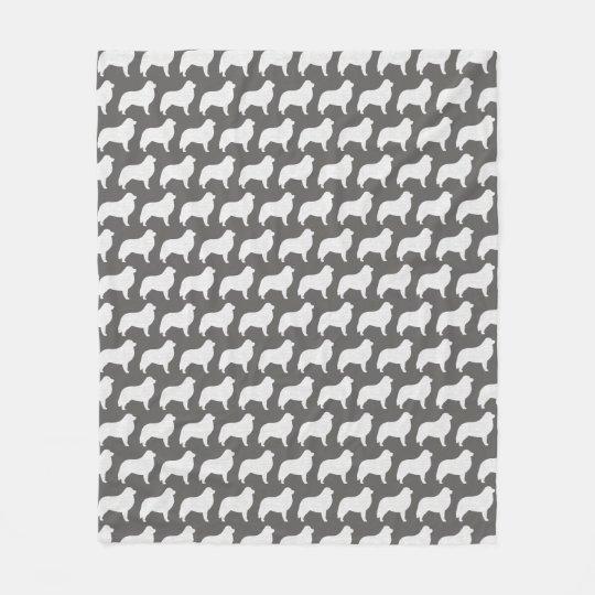 Great Pyrenees Silhouettes Pattern Grey Fleece Blanket